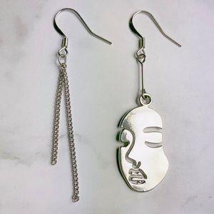 New! Human Face Asymmetrical Drop Earrings Silver